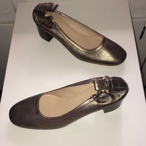 Everlane The Day Heel Leather Pumps sz 9.5 Gold